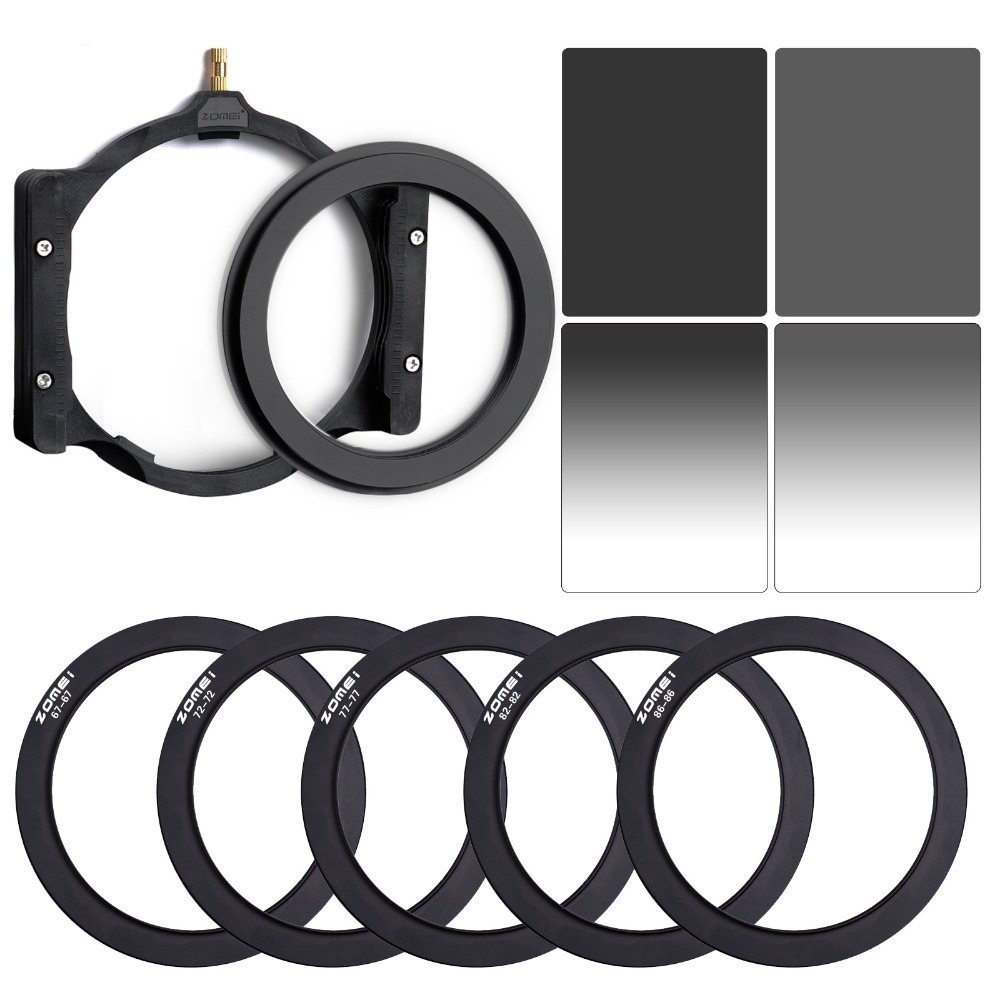 ZOMEI Square 100mm ND8+ND16+67MM 72 77MM 82MM 86MM Rings+Holder For Cokin Z Pro. zomei 6in1 filter kit 67mm ring holder 150x100mm gradual nd4 full nd2 nd4 nd8 neutral density square nd filter for cokin z