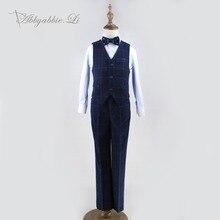 Boys Shirt Formal Set Dark Blue Children Suit Gentlemen Plaid Outfit Abbyabbie.Li Chorus Costume Vest Trousers Bow Tie 4Pcs