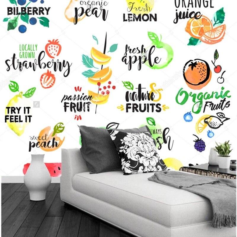 Us 12 5 50 Off Fruit Wallpaper Fruit Label 3d Modern Mural For Kitchen Restaurant Coffee Shop Shop Background Wall Silk Papel De Parede In