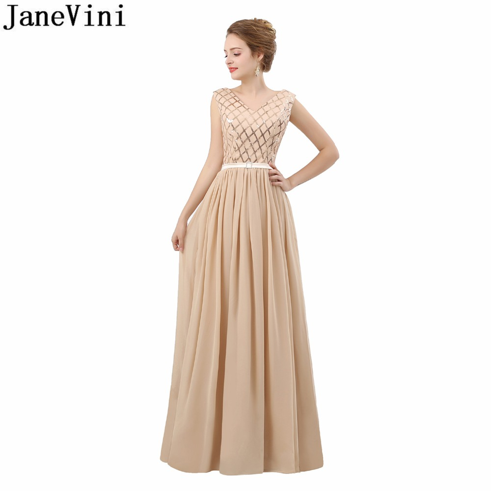 JaneVini 2018 In Stock V-Neck Long Bridesmaid Dresses Fashion Chiffon Sleeveless Champagne Prom Wedding Party Gown With Sequins