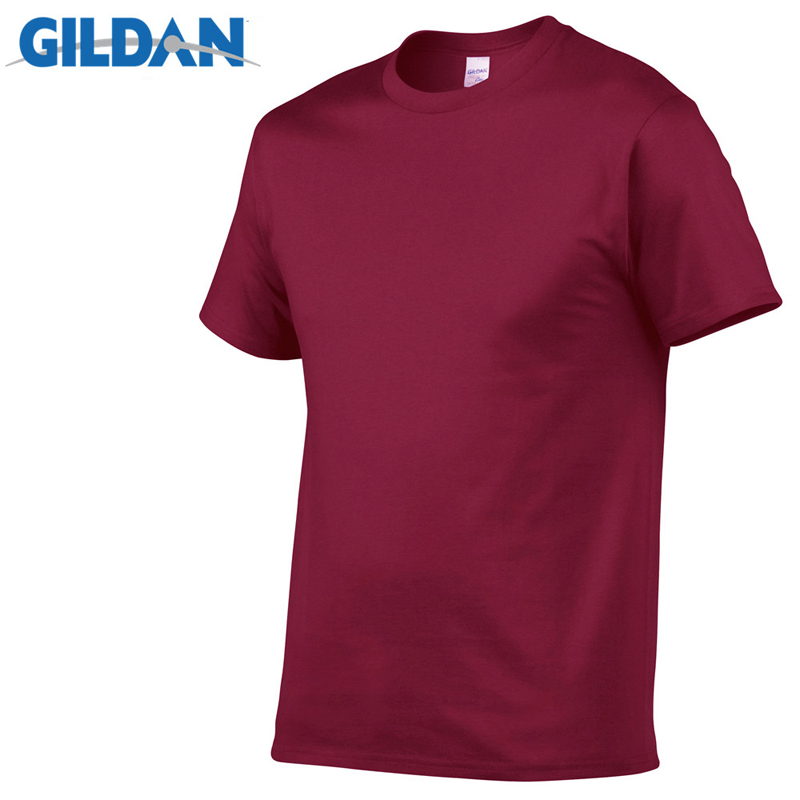 5pcs Lot GILDAN Brand Solid color T Shirt Mens Black And White 100 cotton T shirts