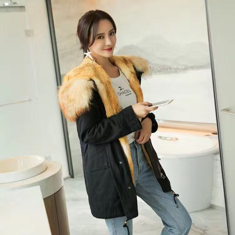 New Real Fur Coat Multi Color Fur Jackets Women Natural Mink Fur Coats Raccoon Dog Hooded Mr And Mrs Fur Parka Female Ladies