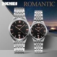 SKMEI Brand Lovers Quartz Men Watch Women Watches Relogio Masculino Feminino Stainless Steel Waterproof Ladies Wristwatches