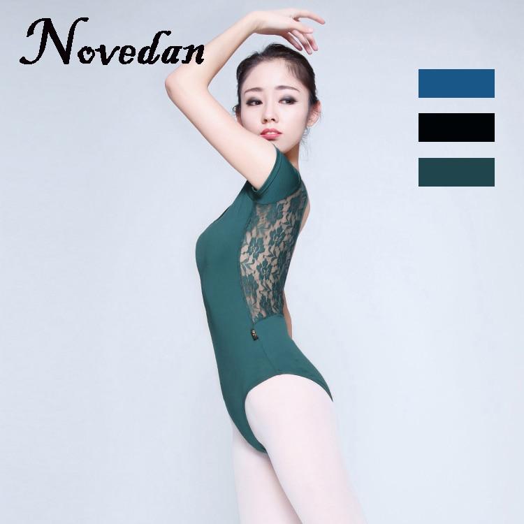 Adult Ballet Leotard Women Ladies Sexy Lycra Spandex Dance Leotards Blue Green Black Lace Mesh Leotard Dancewear
