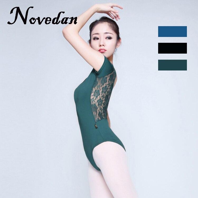 Adult Ballet Leotard Women Ladies Sexy Spandex Dance Leotards Blue Green Black Lace Mesh Leotard Dancewear
