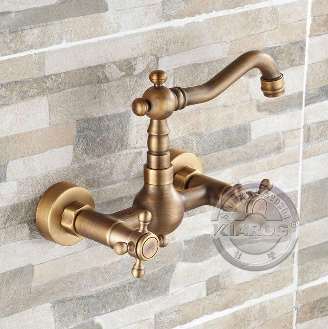 Смеситель для ванны смеситель. Состаренный, латунный, двойной кран для ванны. настенный кран для ванны. GY-884B1