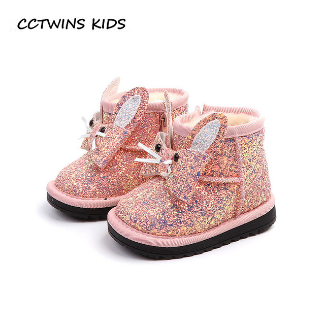 CCTWINS KIDS 2018 Winter Toddler Fashion Butterfly Ankle Boot Baby Girl  Glitter Warm Shoe Children Bunny Snow Boot CS1533 3653fb8a0b88