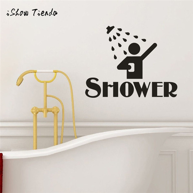 Shower Removable Art Vinyl Mural Home Room Decor Wall Stickers Toilet Door Vinyl Decal Transfer Vintage Decoration Quote Art