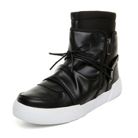 Euro Style Men S Shoes Thick Sole High Top Leather Casual Shoes Brand Designer Male Hip