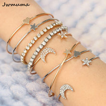 Pentagram star moon bracelets bangles Set Shiny meteorite Gold silver women's bracelet popular accessories Fashion jewelry Gift(China)
