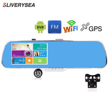 SLIVERYSEA Car DVR GPS Navigation WiFi Android Full HD 1080P Car Camera Dual Lens Parking Rearview Mirror Camera Video Recorder 10 full touch ips car dvr camera rearview mirror gps navigation dual lens automobile wifi android 5 1 4g network video recorder