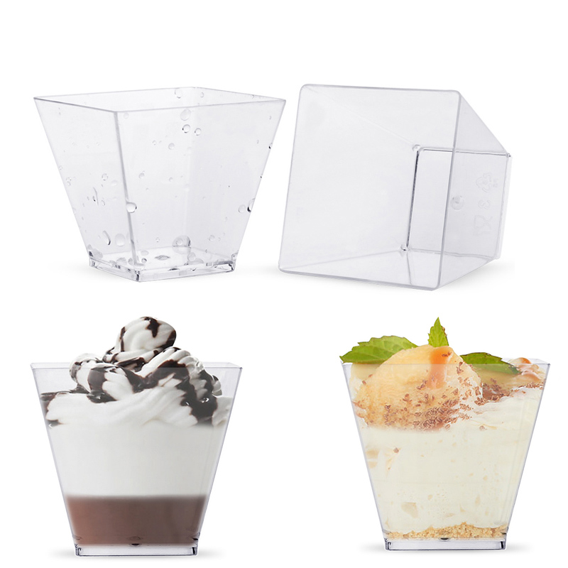 50pcs Plastic Disposable Portion Containers Dessert Cups Pudding Cup 2oz 60ml Square Dessert Box For Pudding Mousse Yogurt Jelly