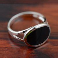V YA Black Stone Agate Rings 925 Silver New Fashion 100 S925 Solid Sterling Silver Ring