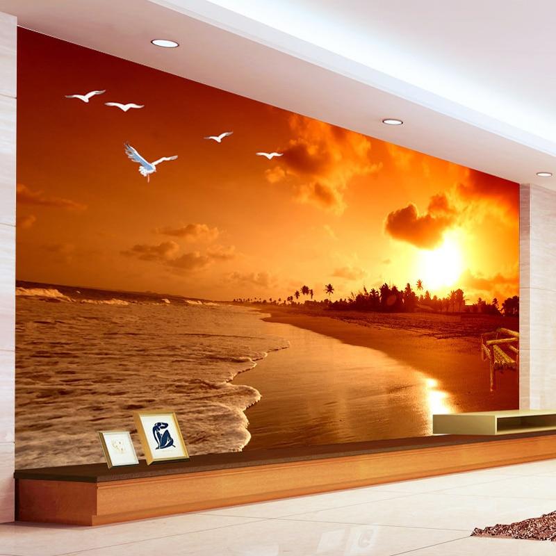 Custom 3D Mural Wallpaper Sunset Beach Photography Landscape Living Room TV Backdrop Photo Wallpaper Papel De Parede 3D Sala