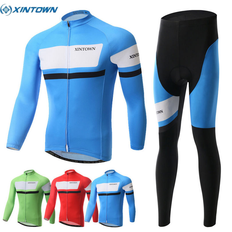 XINTOWN Mens Long Sleeve Cycling Jersey Set Mountain Biking Suit Clothes Compression Pants
