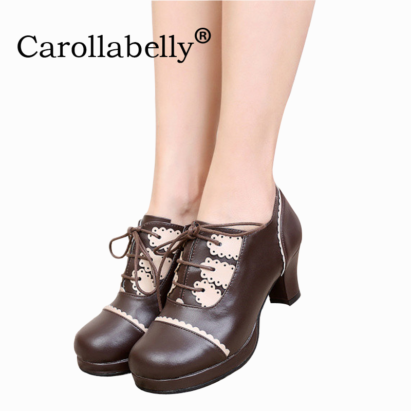 Carollabelly Sweet Princess Party Shoes Soft Leather Women Pumps Cosplay Cross Tied Round Toe Platform Lolita Shoes Party Shoes lin king mary janes women flats shoes sweet patent leather princess shoes student lolita shoes round toe cosplay party shoes