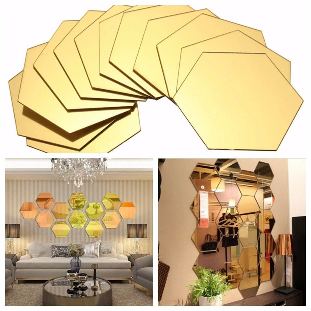 7 Piece Hexagon Acrylic Mirror Wall Stickers DIY Art Wall Decor Wall ...