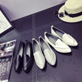 Flat shoes Woman pu Leather England retro Flats point toe work shoes black white attendant cheap loafers women casual Shoes