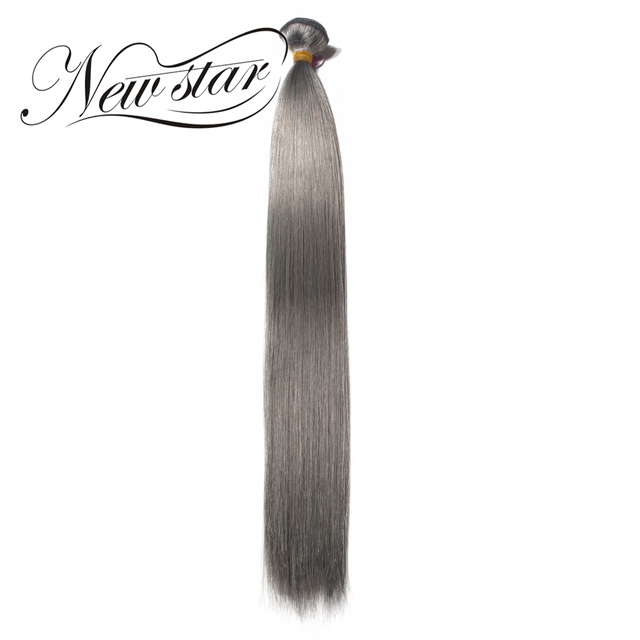 New Star Grey Colorful Straight Double Drawn Bundle Remy Human Hair