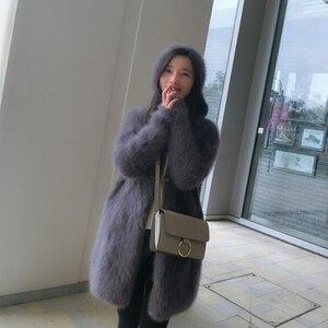 Image 2 - Suéter vintage com capuz feminino, cardigans de caxemira macia e natural com capuz, vison real, wsr336, 2020
