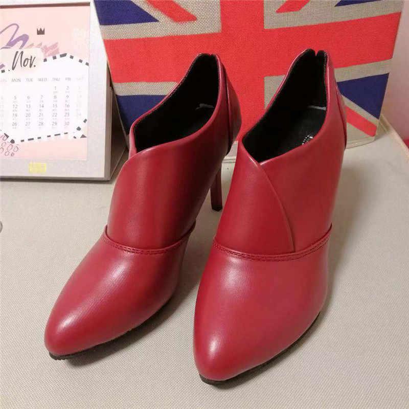 Zanpace bayan Botları Kırmızı deri ayakkabı Avrupa Kış yarım çizmeler Kadınlar Için Sivri Burun Yüksek Topuk Bayan Botları Joker Botas Mujer