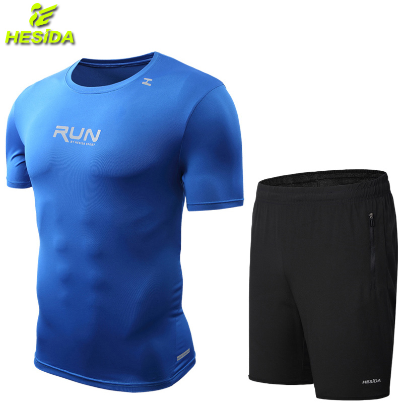 Course T-Shirt Shorts hommes 2 pièces football Tennis Jersey Sport costume hommes Sportswear hommes Fitness vêtements sec Sport porter Gym T-Shirt