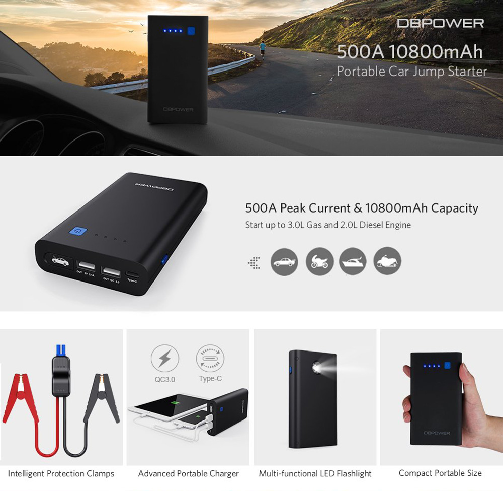 Dbpower Car Jump Starter 500a Peak 10800mah Emergency Battery Multi Charger With Shortcircuit Protection For Safe Charging Power Bank