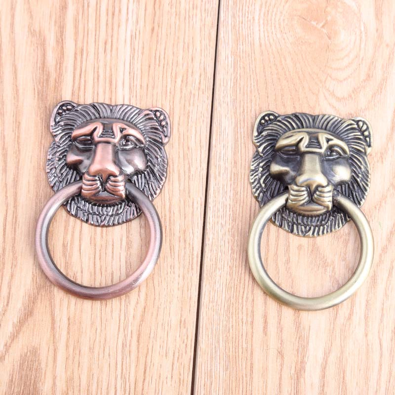 Chinese Retro Beast head furniture dro rings handles antique brass drawer cabinet pulls knobs antique copper dresser door handle antique european furniture handles cabinet handle door drawer circular copper