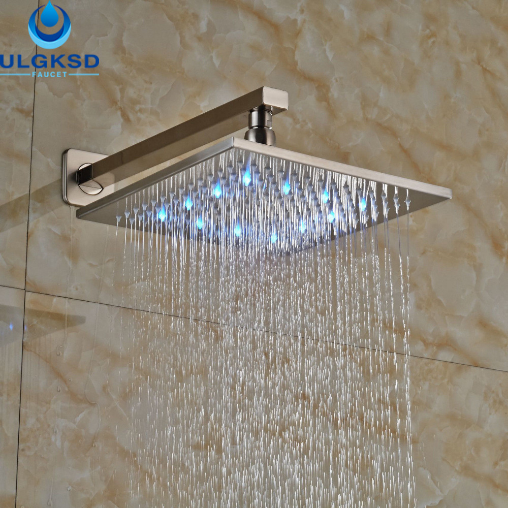 Ulgksd Whole And Retail Wall Mounted 10 Shower Head Led Bath Rainfall Bathroom Replacement In Heads From Home