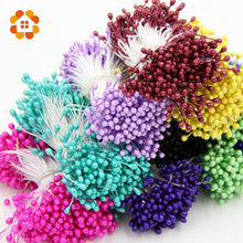 1 Bundle 150PCS Artificial Flower Double Heads Stamen Pearlized Craft Cards Cakes Decor Floral for home