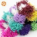 1 Pacote = (150 PCS) Pearlized Estame Flor Artificial Cabeças Dobro Cartões Artesanais Bolos Decoração Floral para festa de casamento decoração de casa