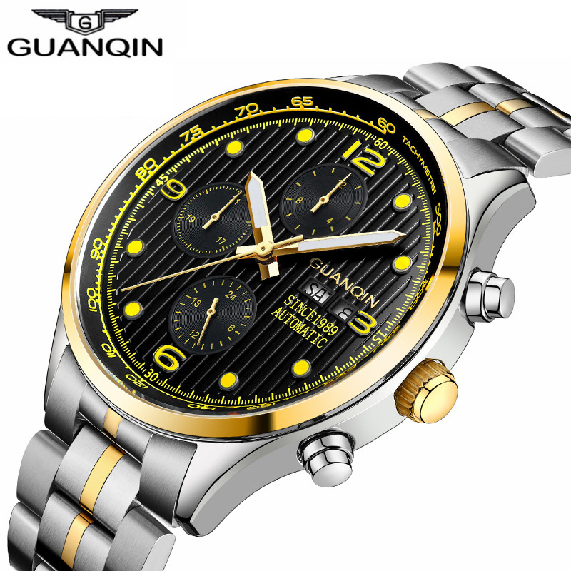 GUANQIN Relogio Masculino Mechanical new Automatic date week Waterproof mens watch top brand luxury Full Steel erkek kol saati