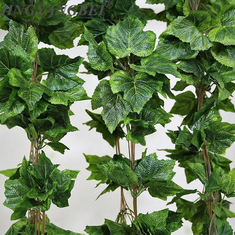 5 pçs 260cm artificial planta videiras folhas de uva de seda garland falso simulação flor rattan casa decoração de casamento