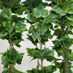 5PCS 260cm Artificial Plant Vines Silk Grape Leaves Garland Faux Simulation Flower Rattan Home Wedding decoration