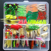 Soft Frog Worm Lures Bass Fishing Hooks Bait Tackle Kit 132pcs/Lot Fishing Tools