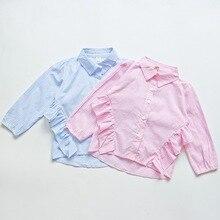 Crianças Camisa Listrada Ocasional da Menina, Meninas do bebê Crianças Bonito Lace Manga Comprida Camisas de Algodão Blusas Roupas