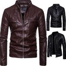 2018 Новое поступление брендовая мотоциклетная кожаная куртка Мужская jaqueta de couro masculina повседневные мужские кожаные куртки пальто мужская одежда