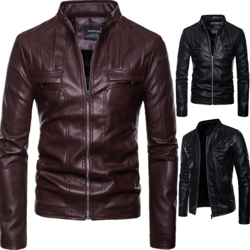 2019 New arrival brand motorcycle leather jacket men jaqueta de couro masculina Casual Men 39 s leather jackets coats Male Clothing in Faux Leather Coats from Men 39 s Clothing