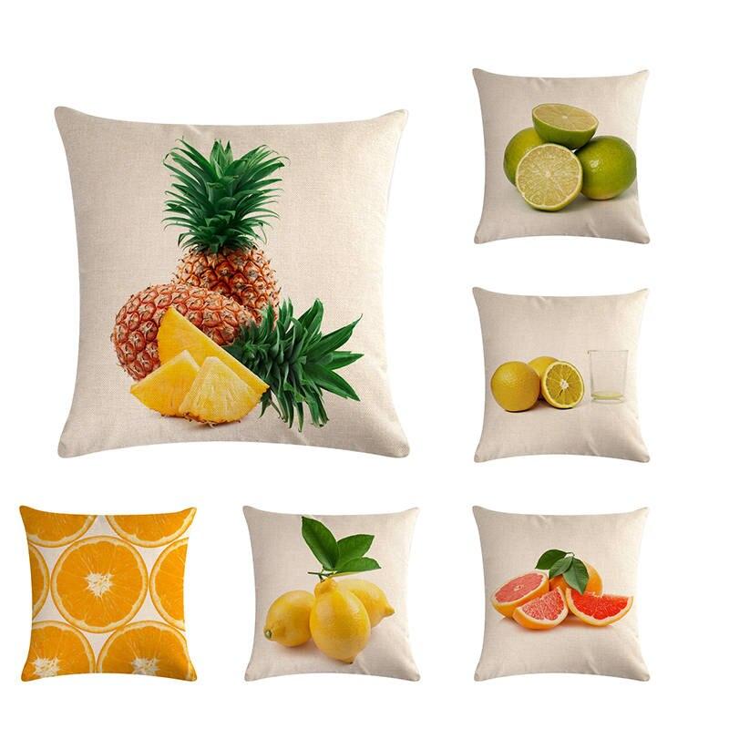 Home Decor Fruit Lemon Cotton Linen Pillow Case Sofa Waist Throw Cushion Cover