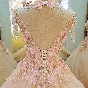 Image 4 - Vestidos de noiva vintage, tule diamante vestido de noiva 2018 vestidos de noiva com pérolas e flores rosa personalizado