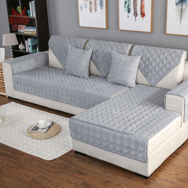 Living Room Covers Decorating Apartment Pictures Grey Pink Plaid Quilted Corduroy Sofa Cover Cama Slipcovers For Furniture Sectional Couch Sp4889