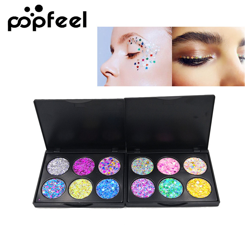 Beauty Essentials 6 Color Glitter Makeup Eyeshadow Palette Children Stage Festival Party Makeup Shimmer Sequins Glitter Eye Shadow Palette Tslm1