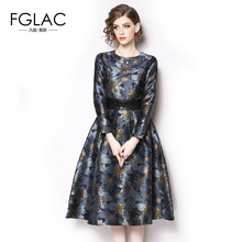 FGLAC Women's Autumn winter Dress Fashion casual long sleeve Vintage Jacquard Cocktail party dress High-end dress Vestidos