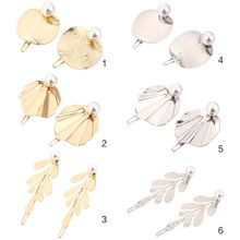 Minimalist Metal Alloy Frog Bobby Pins Women Girls Cute Drawbench Leaves Imitation Pearl Hair Clips Glitter Geometric Barrettes