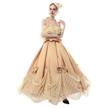 Middle Ages Princess Lace Dresses Pendulum Ball Gown Pleated Gown Costume Renaissance Theatre Halloween Christmas Party Dress