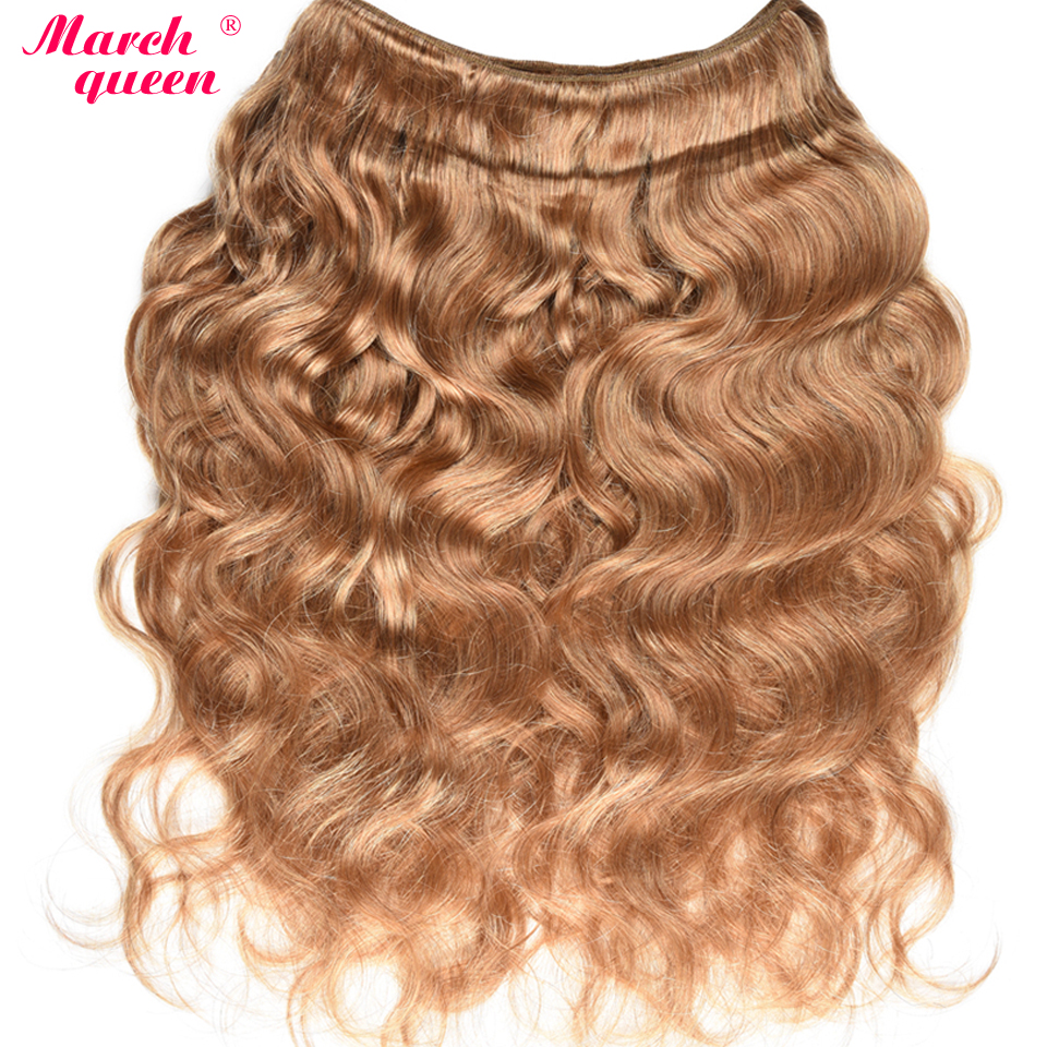 Image 2 - March Queen Honey Blonde Indian Human Hair Bundles With Closure #27 Body Wave 3 Bundles With Lace Closure Raw Indian Hair Weft-in 3/4 Bundles with Closure from Hair Extensions & Wigs