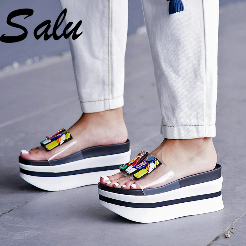 Salu 2019 Women Concise Sandals Sequined Wedges Heels Summer Sandals Party Wedding High Heels Fashion Shoes