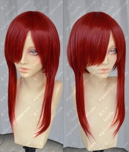 """39"""" 100cm Long Wine Red Erza Scarlet Heat Resistant Ponytail Hair Anime Fairy Tail Cosplay Costume Wig + Free Wig Cap"""