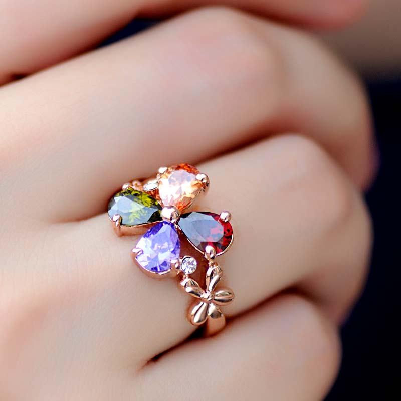 Femmes de mariage fleur Bauhinia dame or Rose bague doigt large mode coréenne personnalité exagération anneau