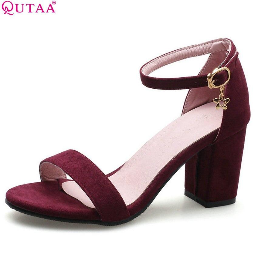 QUTAA 2020 Women Sandals Square High Heel Fashion Women Shoes Platform Buckle Wedding Shoes Flock Women Sandals Size 34-43